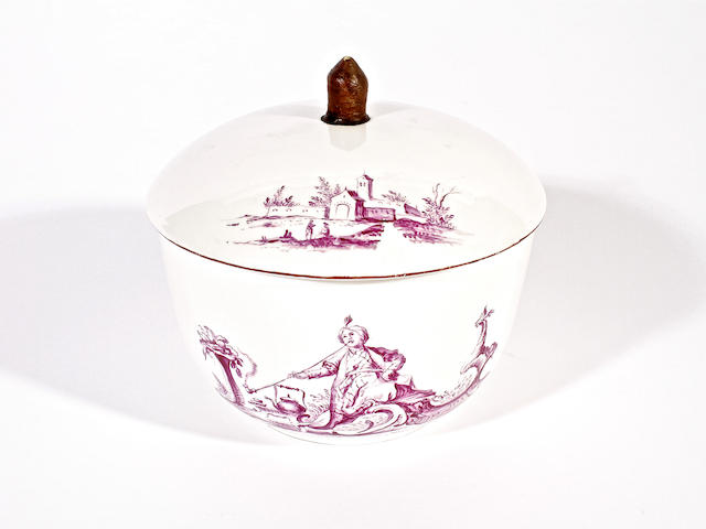 A rare and early Höchst sugarbowl and cover, circa 1750-55