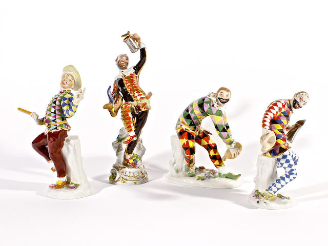 Four Meissen Italian Comedy figures, 1970s, after models by Kaendler