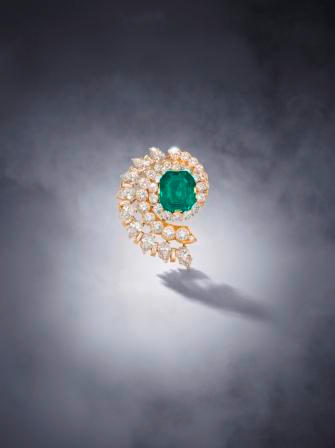 A fine emerald and diamond brooch, by Van Cleef & Arpels,