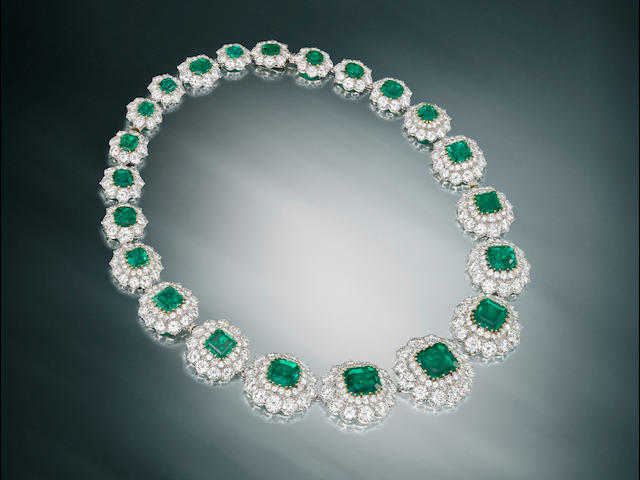 An important emerald and diamond necklace/choker/bracelet combination, by Van Cleef & Arpels,
