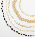 A collection of cultured pearl necklaces  (6)