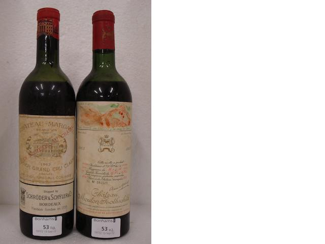 Chateau Margaux 1963 (1)<BR />Chateau Mouton Rothschild 1963 (1)