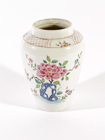 A Bow baluster vase, circa 1760