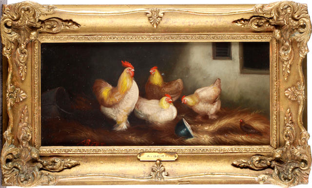 A Bert, 20th Century Chickens among straw (a pair)