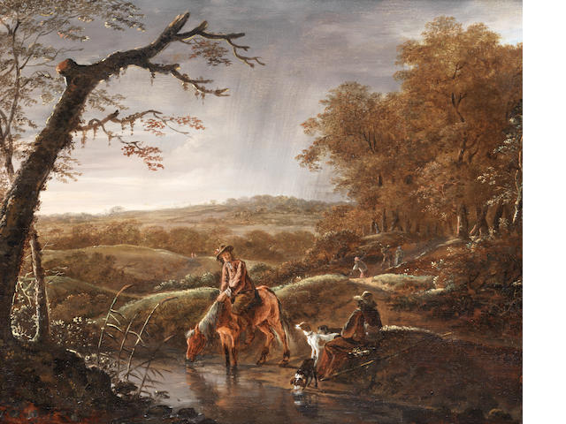 Ludolf de Jongh (Overschie 1616-1676 Hillegersberg) Hunters at rest with a horse and dog near a stream