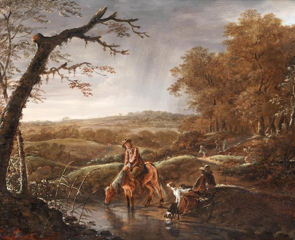 Ludolf de Jongh (Overschie 1616-1676 Hillegersberg) Hunters at rest with a horse and dog near a stream