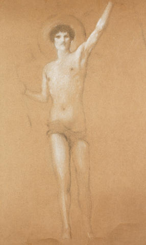 Fernand Khnopff (Belgian, 1858-1921) Etude pour 'La force de l'homme éloinge le malheur'