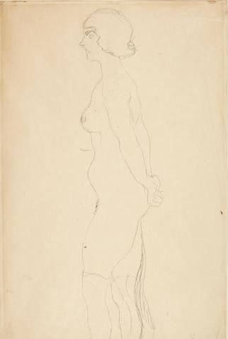 Gustav Klimt (Austrian, 1862-1918) Stehender Akt im Profil nach links