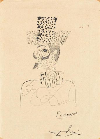 Salvador Dalí (Spanish, 1904-1989) Autoportrait, dédié à Federico García Lorca