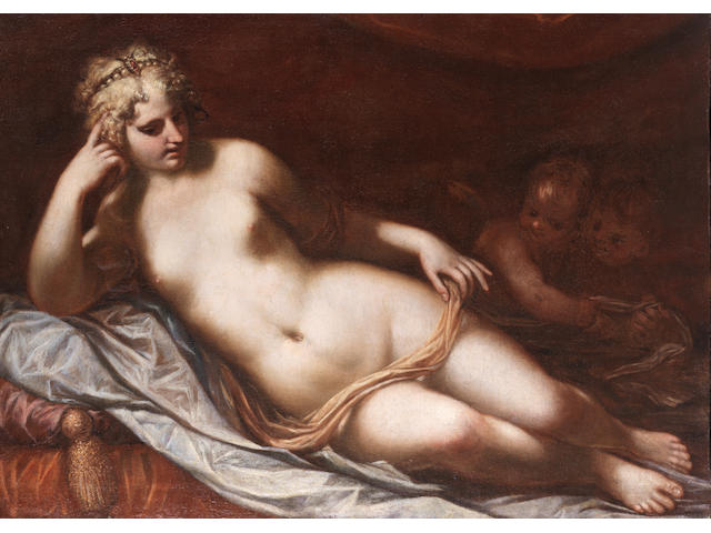 Workshop of Lorenzo Pasinelli (Bologna 1629-1700) Venus with Putti unframed
