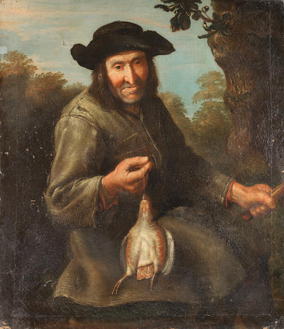 Flemish School, 18th Century The bird trapper unframed