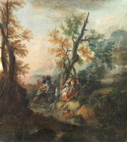 Follower of Salvator Rosa (Arenella 1615-1673 Rome) Soldiers resting in a wooded mountainous landsca