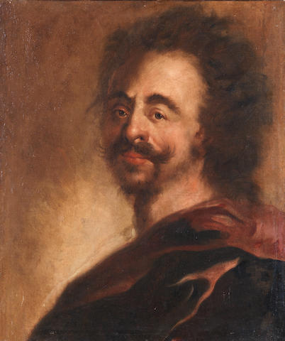 Circle of Ádám von Mányoki  (Szakolya 1673-1756 Dresden) Portrait of a bearded man, bust-length, in a red mantle unframed