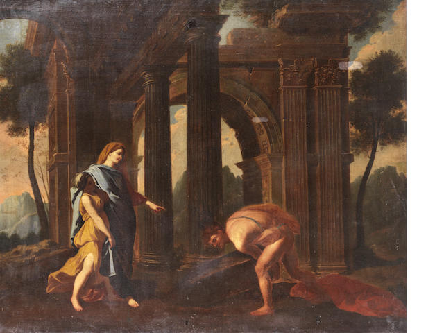 Studio of Nicolas Poussin (Villers 1594-1665 Rome) Theseus finding his father's sword  unframed