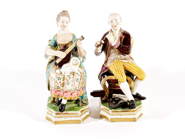 A pair of Derby figures of musicians, circa 1830