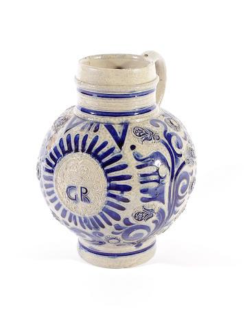 A Westerwald stoneware jug, circa 1714-1760