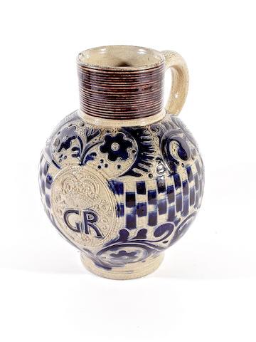 A Westerwald stoneware jug, circa 1714-60