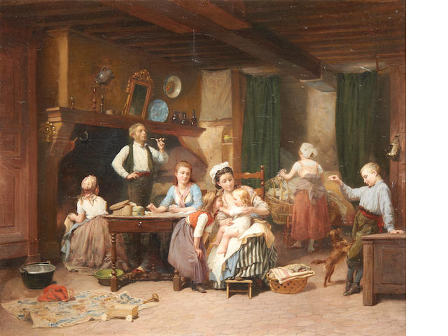 Charles Auguste Romain Lobbedez (French, 1825-1882) Family time