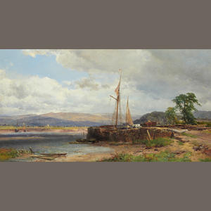 John Syer, RI (British, 1815-1885) Estuary with beached boats
