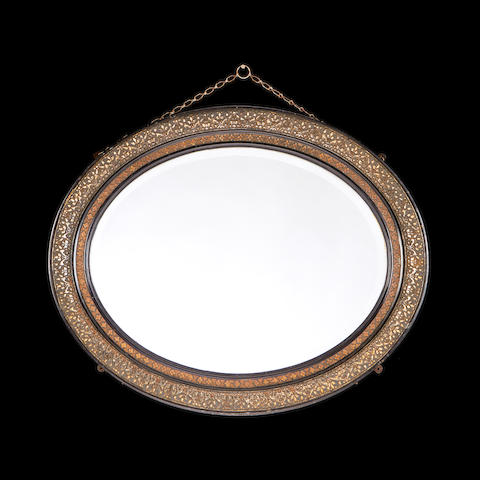 A French late 19th century ebonised mirror