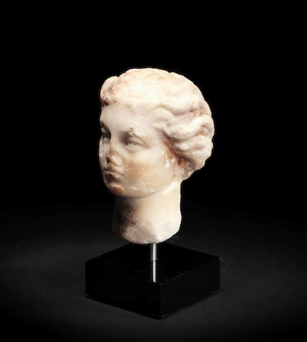 A small Roman marble female head
