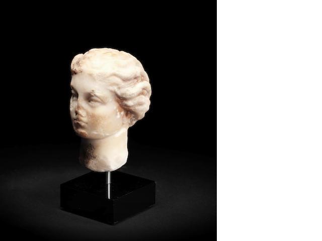 A small Roman marble female head