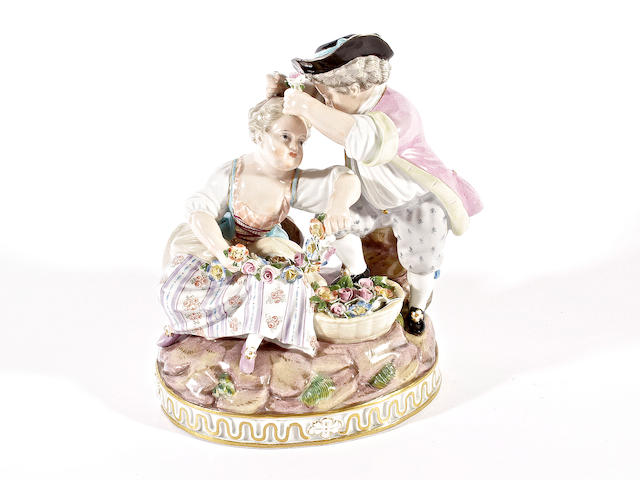 A good Meissen figural group emblematic of Spring, circa 1870
