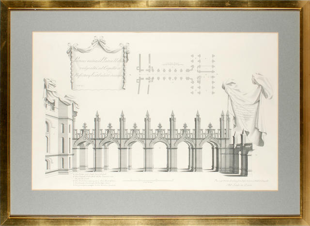 After Nicholas Hawkesmoor a set of six engravings of Hawkesmoor's designs for the re-building of All Souls College, Oxford, after originals of 1717-1721;47 x 61cm