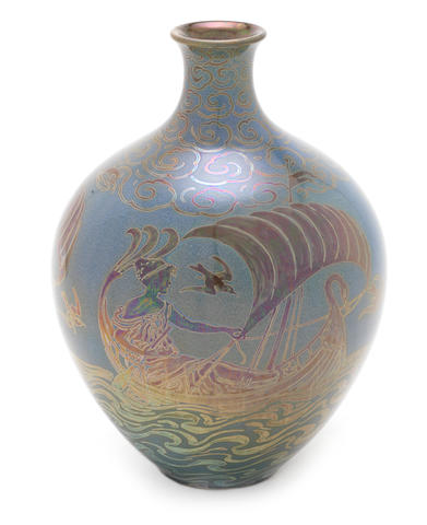 Richard Joyce and Walter Crane for Pilkington Royal Lancastrian an Exhibition Vase with Seamaidens, 1906