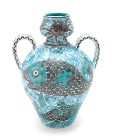 William De Morgan A Large Twin-Handled Vase with Crab and Fish Design, circa 1880
