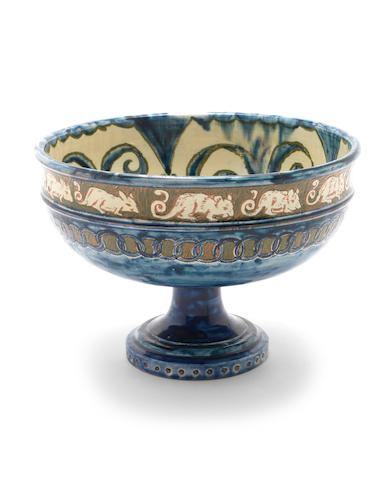 Lizzie Wilkins for Della Robbia A Pottery Tazza with Mouse Design, circa 1900