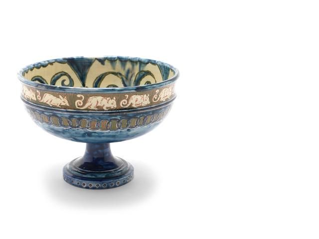 Lizzie Wilkins for Della Robbia A Pottery Tazza with Mouse Design, circa 1900
