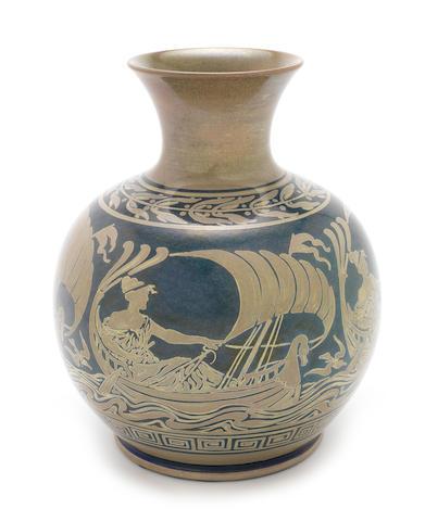 Walter Crane and William Mycock for Pilkington Royal Lancastrian a Rare Large Size `Sea Maiden' Vase, circa 1910