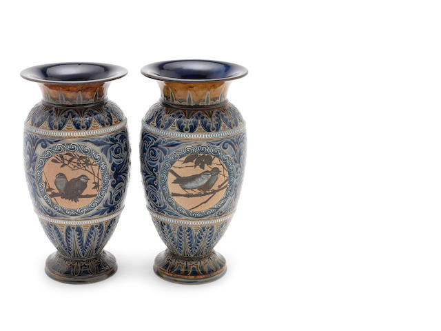 Florence Barlow for Doulton Lambeth a Large pair of Vases with Pate sur Pate Bird Panels, 1887