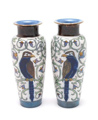 Harry Simeon for Doulton Lambeth a Good Pair of Vases with Parrots, circa 1920