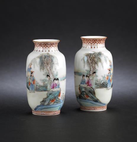 A pair of small famille rose lantern-shaped vases Qianlong four-character seal marks