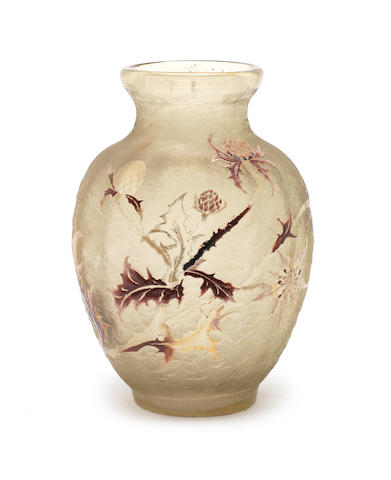 Emile Galle an Acid-Etched and Enamelled Glass Vase, circa 1900