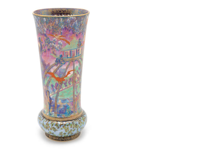 Daisy Makieg-Jones for Wedgwood 'Imps on a Bridge and Tree House' a Large and Impressive Fairyland Lustre Vase, circa 1924