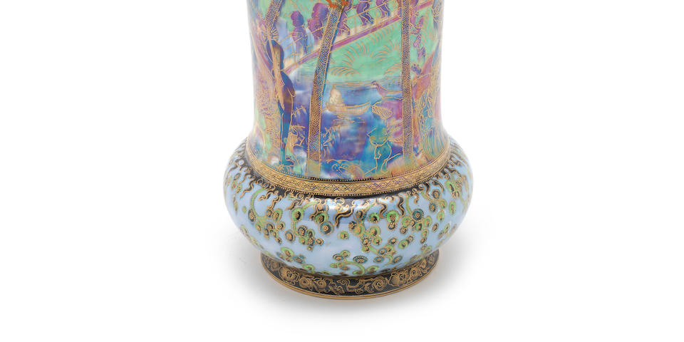 Daisy Makeig-Jones for Wedgwood 'Imps on a Bridge and Tree House' a Large and Impressive Fairyland Lustre Vase, circa 1924