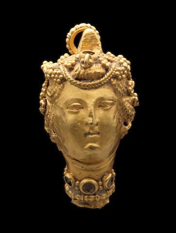 A Greek gold pendant terminal