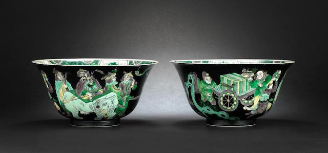 A pair of famille noire bowls