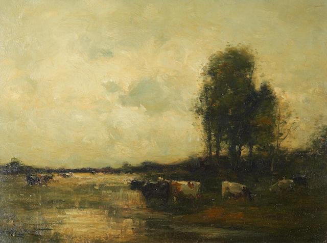 Edward Aubrey Hunt (American, 1855-1922) 'Flooded Meadows, Southampton'