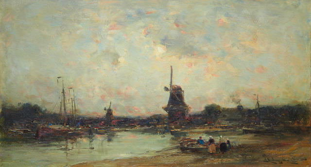 Edward Aubrey Hunt (American, 1855-1922) River landscape with boats and windmills