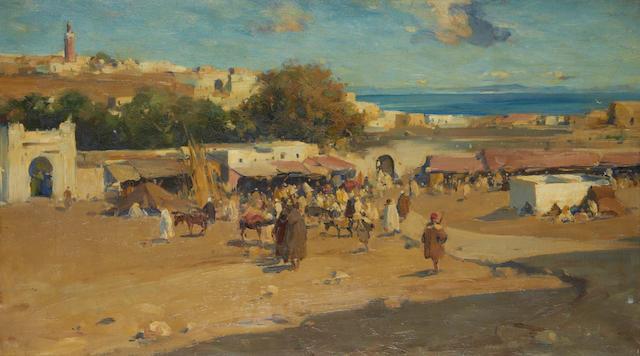 Edward Aubrey Hunt (American, 1855-1922) Market scene, Tangiers