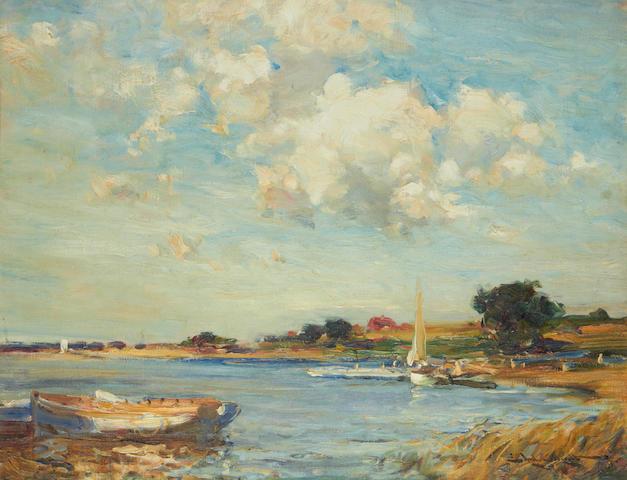 Edward Aubrey Hunt (American, 1855-1922) River scene