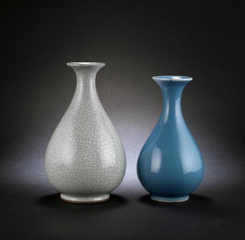 A clair-de-lune monochrome, pear-shaped vase
