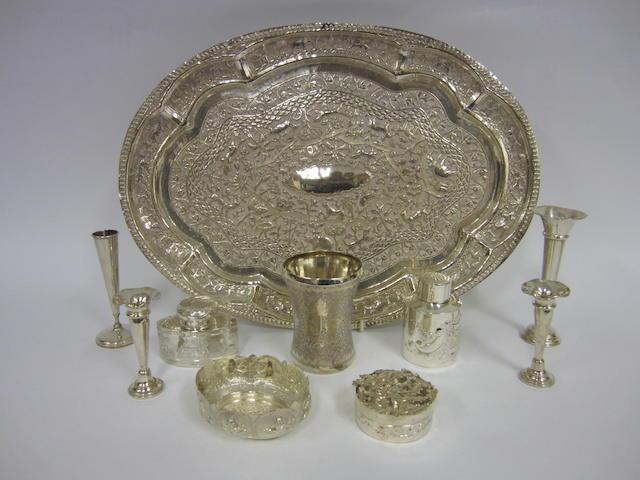 A late 19th century Indian silver tray Probably Calcutta