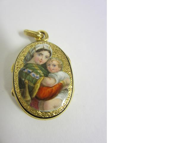 A late 19th century French gold and enamel locket