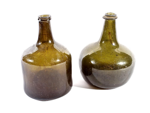 Two olive-green tint wine bottles, 18th century