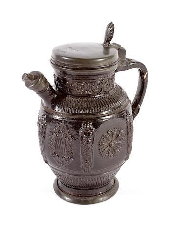 A rare pewter-mounted Annaberg stoneware jug, circa 1640